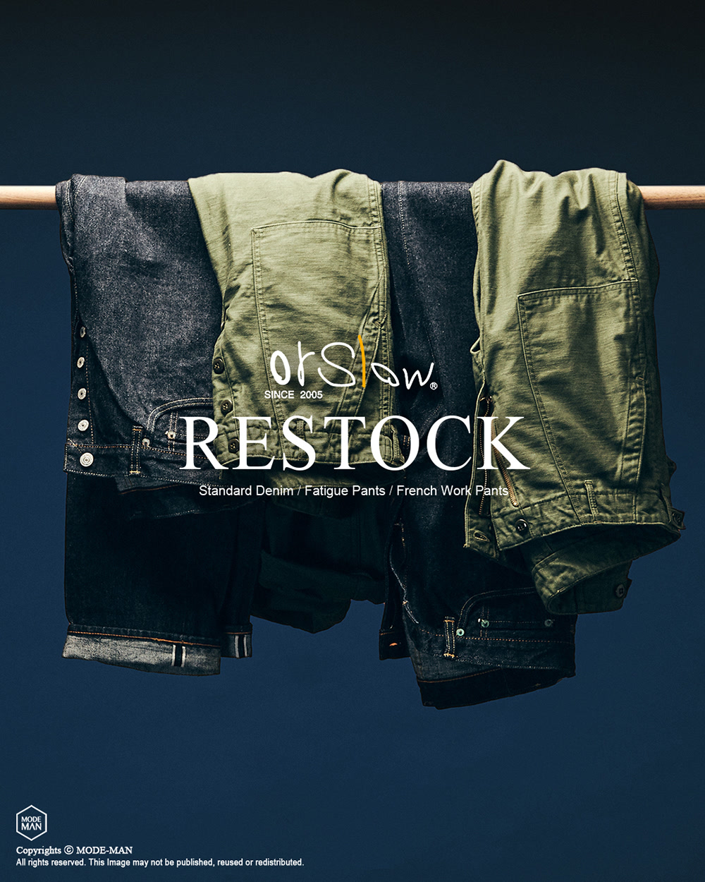 [ORSLOW] BASIC PANTS RESTOCK